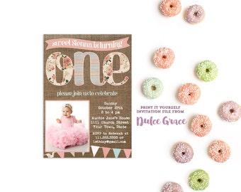 1st birthday invitations, photo card invites, first birthday invite, invitation baby girl, cottage chic, child birthday, printable
