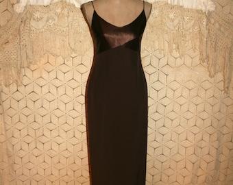 Brown Formal Dress Spaghetti Strap Maxi Floor Length Evening Dress Fall Prom Dress Vintage Ann Taylor Size 6 Dress Small Womens Clothing