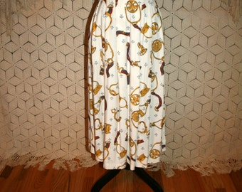 80s 90s High Waist Skirt Long Pleated Skirt Rayon Novelty Print Skirt White Gold Watch Fob Fleur De Lis Womens Skirt Medium Vintage Clothing