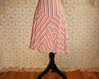 Chevron Skirt Drop Waist Skirt Flared Skirt Cotton Skirt Stripe Skirt Peach Pink Brown Womens Skirts American Eagle Large XL Womens Clothing