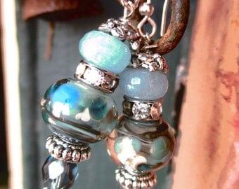Lampwork Glass Earrings, Ocean Breeze