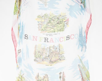 Vintage San Francisco Scarf | Super Thin 60s Bandana Scarf | Golden Gate Bridge | Chinatown | Old San Francisco