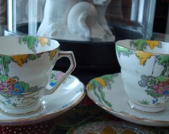 "Vintage Art Deco Fenton ""Idyll"" Radfords Bone China Cup & Saucer - (2) Sets - Circa 1930's - Beautiful!!"