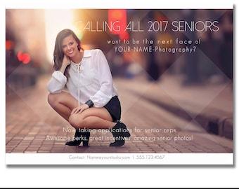 INSTANT DOWNLOAD, Senior Rep Portrait Marketing Template for Photographers, Modern Design, Searching for Senior Models, Model Call, Senior