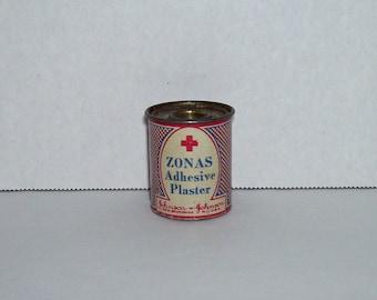 Vintage Johnson and Johnson Miniature Zonas Adhesive Plaster Tin