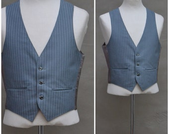 Vintage Waistcoat, 1970's Men's vest, Grey nylon pinstriped business waistcoat, fitted, single breasted vest with three button fastening