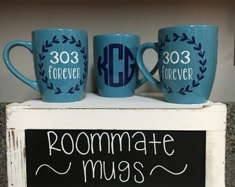 BACK to SCHOOL SALE! Personalized roommate monogram apartment dorm mugs