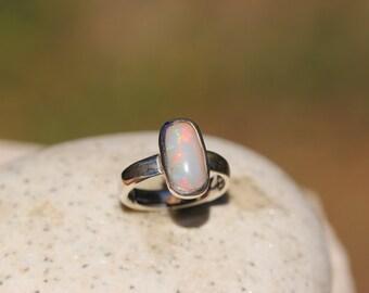 Ethiopian Fire Opal Ring Set In Sterling Silver Size 5, Solid Opal Ring,  Welo Opal OPR17