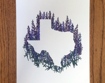 Texas State Print - Bluebonnets