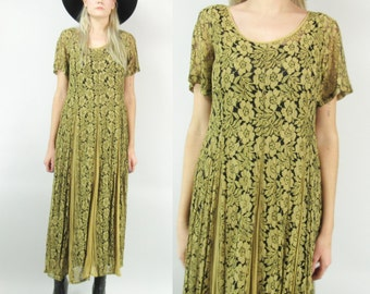 90s Gold Lace Midi Dress, Sheer with Black Slip
