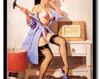 Vintage Retro Pin-up Girl Art Erotica Gil Elvgren REPRO Postcard R835633