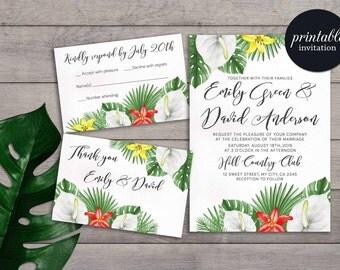 Tropical Wedding Invitation Printable, Summer Wedding Invitation Beach, Hawaii  Wedding Invitation, Destination Wedding