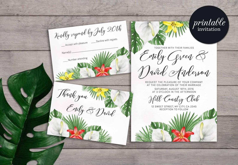 Tropical Wedding Invitations: Tropical Wedding Invitation Printable Summer Wedding