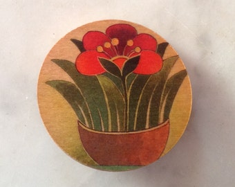 Wood Brooch with colorful floral design