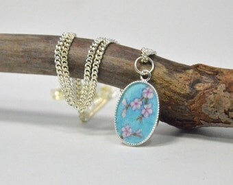 Cherry Blossom Silk Mini Painting Oval Necklace: Hand Painted Silk Jewelry