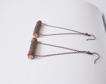 Handmade Natural Pine Wood Earrings. Copper chain and findings. Eco friendly. Perfect gift for Nature lovers