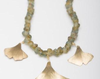 Ginkgo Leaf Necklace ~ Brass Ginko Leaf Glass Beaded Necklace