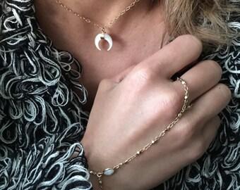 White Fire Opal Chain Handpiece