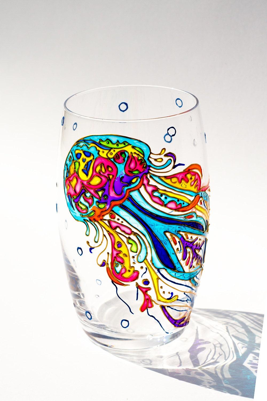 Jellyfish hand painted drinking glasses wine mug stemless for Hand painted drinking glasses