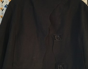 Unusual Emmanuelle Khanh Black Raw Edge Felted Wool Velcro Blazer