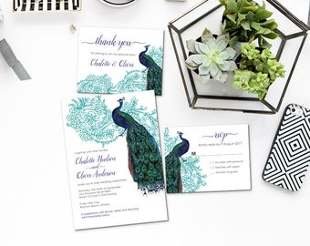 Peacock invitations Etsy