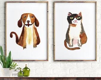 Dog cat watercolor art print, painting, illustration Set of 2 print Dog art print, Cat, Animal art, Children room, Playroom, Nursery decor
