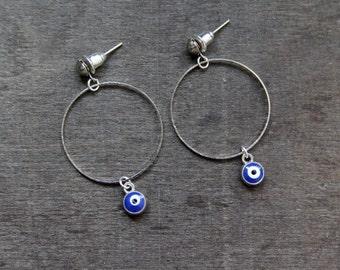 Evil eye cirkel dangle earrings