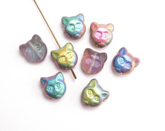 Crystal AB Cat Czech Glass Beads, (8 pcs) 13x12mm Cat Beads, AB Cat Beads, Glass Cat Beads, Cat Face Beads, Animal Beads ANM0033