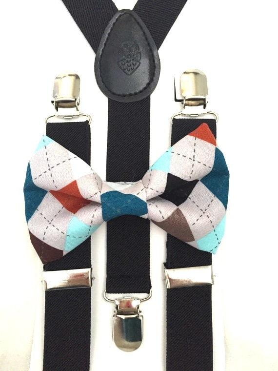 Black Suspenders and Argyle Bow Tie