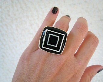 Black and white ring, geometric ring, black resin ring, statement ring, big bold square ring abstract minimalist contemporary jewelry