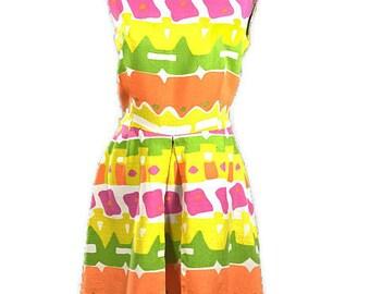 1980 Cotton Dress. Vintage Mod Print Linen Day Dress, Sleeveless, Made in USA