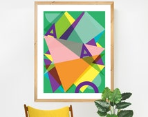 "Large A1 Abstract Poster, Geometric A1 print (23"" x 33""). Modern Wall Art. Triangular Print. Colourful Decor. Large Contemporary Decor."