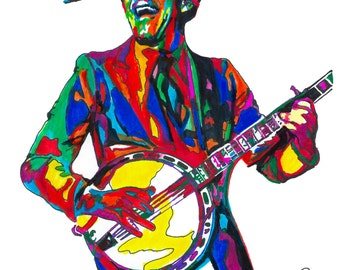 """Steve Martin, Banjo, Comedian, Actor, Writer, Producer, Music, POSTER from Original Drawing 18"""" x 24"""" Signed/Dated by Artist w/COA 3"""