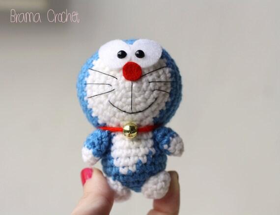 Amigurumi Doraemon Tutorial : Tiny Doraemon Kawaii Amigurumi crochet doll Handmade