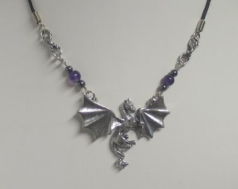 Dragon pendant with Amethyst and Hematite beads