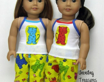 Pajamas 18 inch doll clothes AG doll clothes AG doll pajamas cat pj's