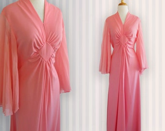 Vintage Long Peach Colored 1970s Dress, Vintage Mod dress, Size 14