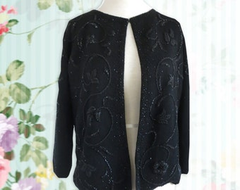 Vintage 1950s Black beaded cardigan with black beading and pearl bead fastenings Size Large