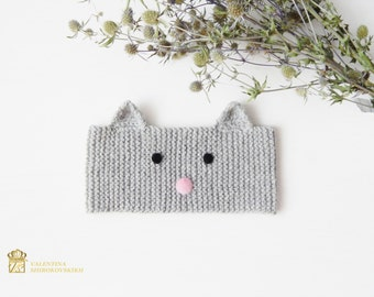 Handmade Knitted Headband, Cat, Hairband Cat, Knitted Accessories, Hair Accessories, Womens Accessories, Little Girl's Knitted Headband