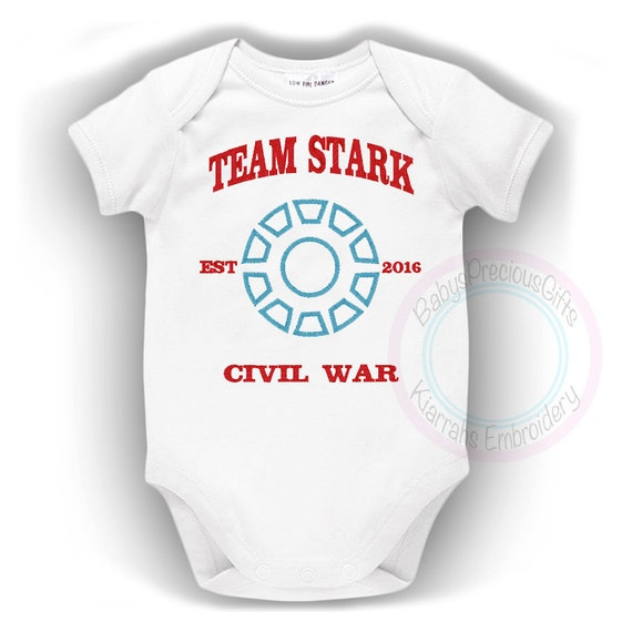 Iron Man Baby Bodysuit Civil War Captain by KiarrahsEmbroidery