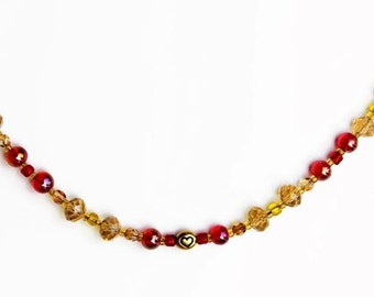 Heart bracelet, yellow candy, red autumn, gold heart, fall season, warm color, bright colors, for her gift idea, topaz fun, the graceful elf