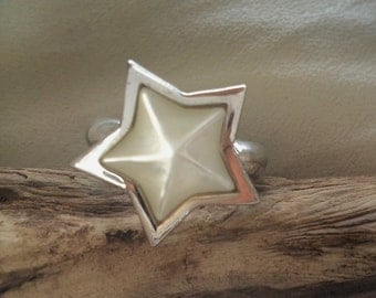 Vintage Sterling Silver Star Abalone Mother of Pearl Ring Size 7