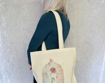 Beauty and the Beast Tote Bag Fairytale Tote Bag Fairytale Rose Cute Canvas Tote Bag Beauty and the Beast Rose Gift For Her