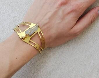 Tanzine Aura Quartz Cuff, Geometry Brass Bracelet, Bohemian Festival Bracelet