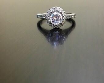 14K White Gold Halo Diamond Engagement Ring - 14K Gold Diamond Wedding Ring - Halo Diamond Ring - Pave Diamond Ring - 14K White Gold Ring