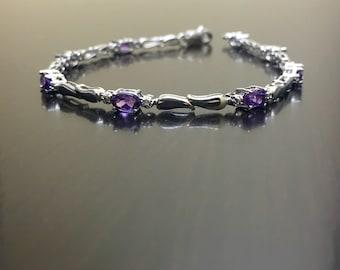 Sterling Silver Diamond Amethyst Bracelet - Silver Amethyst Diamond Bracelet - Amethyst Tennis Bracelet - Amethyst Silver Link Bracelet