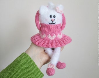 White cat - Stuffed cat - Cat stuffed toys - Soft toy kitten- Knit girl gift soft cat - Amigurumi cat girl with pink dress and shoes