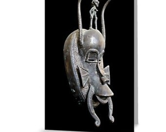 African Art Greeting Card 4x6 or 5x7.5 - Blank Inside / Senufo Bronze Kpelie Mask / Orig Fine Art Photography