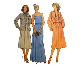 """Women's Dress Sewing Pattern, Evening or Regular Length, Spaghetti Straps and Jacket Misses Size 12 Bust 34"""" Uncut Simplicity 8701"""