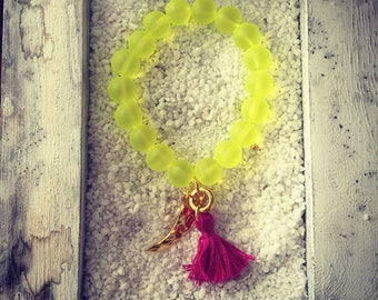 Neon Yellow Beaded Bracelet